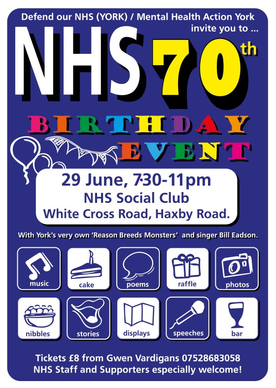 NHS 70th Birthday Party poster