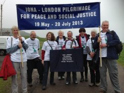 Peace Pilgrims setting off from Iona