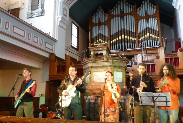 Playing at the Wainsgate Chapel in Hebden Bridge